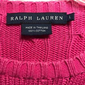 Ralph Lauren Bright Pink Cotton Sweater Size L 12